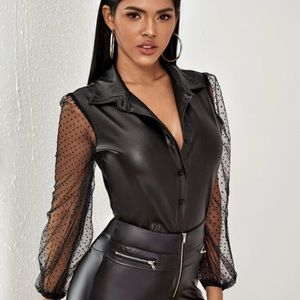Leather look blouse with sheer sleeves